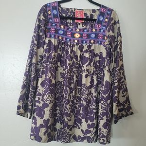 Johnny Was Silk Embroidered Tunic